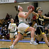 Fitchburg State University ladies basketball played Framingham State University on Saturday, January 26, 2019 at Fitchburg State's Recreation Center. Fitchburg'sCatherine Coppinger gets stopped by Framingham's Liana Cunningham as she drives to the basket. SENTINEL & ENTERPRISE/JOHN LOVE