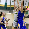 Worcester State University women's basketball played Fitchburg State University on Saturday, January 19, 2019 at their Recreation Center. WSU's Brittany Herring blocks a shot by FSU's Angelina Marazzi during action in the game. SENTINEL & ENTERPRISE/JOHN LOVE