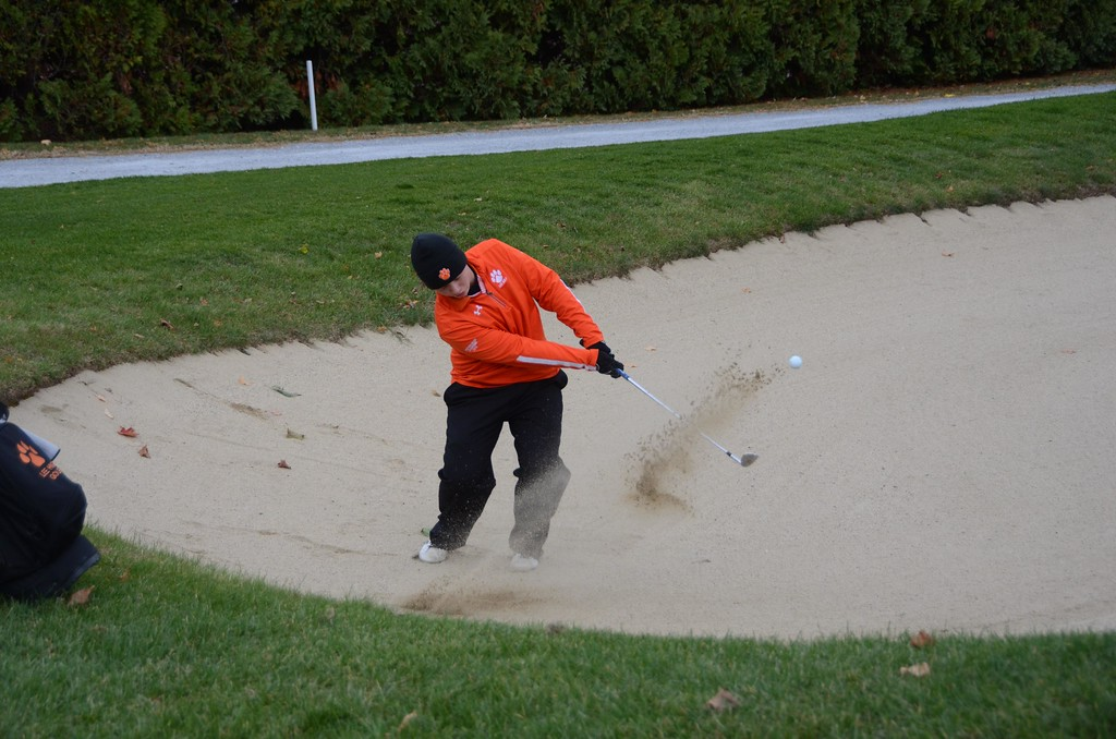 . Colin Finnegan of Lee chips it out of the sand at the 18th hole during the Western Mass Division 3 Golf State Qualifier at the Wyantenuck Country Club in Great Barrington on Tuesday, October 25, 2016. Gillian Jones � The Berkshire Eagle | photos.berkshireeagle.com