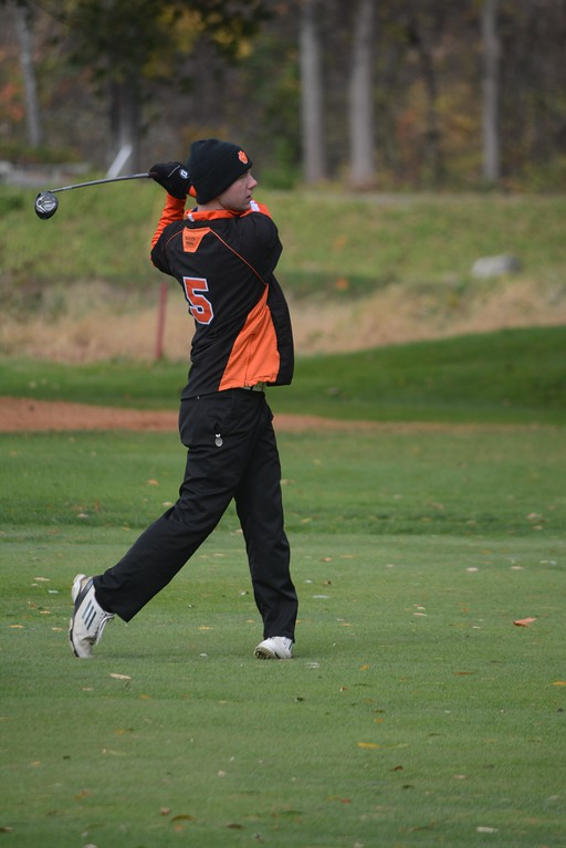 . Thomas Frasier of Lee makes a shot during the Western Mass Division 3 Golf State Qualifier at the Wyantenuck Country Club in Great Barrington on Tuesday, October 25, 2016. Gillian Jones � The Berkshire Eagle | photos.berkshireeagle.com