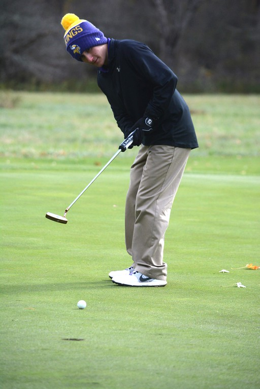 . Mike Gingras of St. Joseph\'s putts it and misses the hole at hole 13 during the Western Mass Division 3 Golf State Qualifier at the Wyantenuck Country Club in Great Barrington on Tuesday, October 25, 2016. Gillian Jones � The Berkshire Eagle | photos.berkshireeagle.com