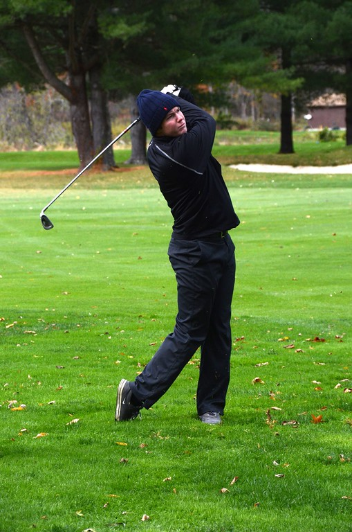. Noah Hunter of Lenox tees off at a hole during the Western Mass Division 3 Golf State Qualifier at the Wyantenuck Country Club in Great Barrington on Tuesday, October 25, 2016. Gillian Jones � The Berkshire Eagle | photos.berkshireeagle.com