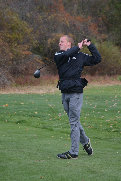 . Cole Kratz of McCann tees off at the 12th hole during the Western Mass Division 3 Golf State Qualifier at the Wyantenuck Country Club in Great Barrington on Tuesday, October 25, 2016. Gillian Jones � The Berkshire Eagle | photos.berkshireeagle.com
