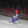 GILLIAN JONES — THE BERKSHIRE EAGLE<br /> Tanner Hill of Wahconah comes down the slope in the second giant slalom race during the regular season finale at Bousquet in Pittsfield on Monday night.