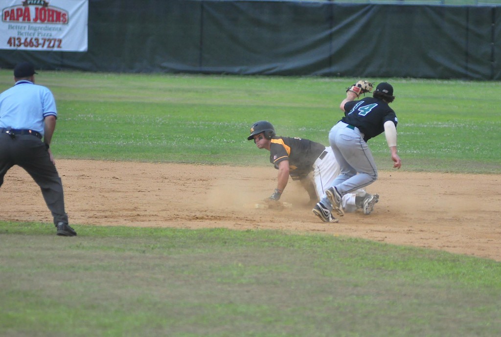 . North Adams\' Kyle Richardson is safe on second as Vermont\'s Ben Hall misses the tag during a game at Joe Wolfe Field in North Adams on Tuesday, July, 15, 2014. Gillian Jones / Berkshire Eagle Staff / photos.berkshireeagle.com