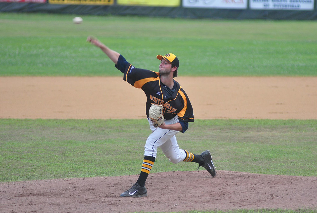 . SteepleCats pitcher Ed Voyle pitches in the first half of the game against the Vermont Mountaineers at Joe Wolfe Field in North Adams on Tuesday, July, 15, 2014. Gillian Jones / Berkshire Eagle Staff / photos.berkshireeagle.com