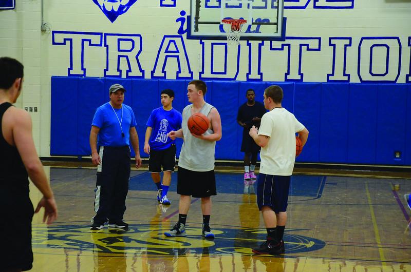 Drury High School boys have basketball practice on Thursday, Dec. 5, 2013. (Gillian Jones/North Adams Transcript)