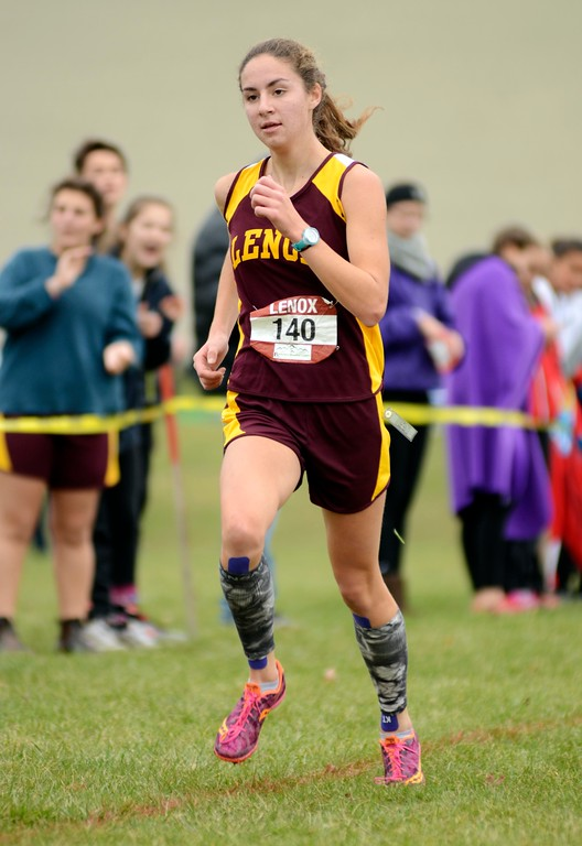 . Lenox senior Emma Jourdain runs during the varsity girls race at the Berkshire County Championships on Saturday. Jourdain placed first overall to win her second county title in three years.