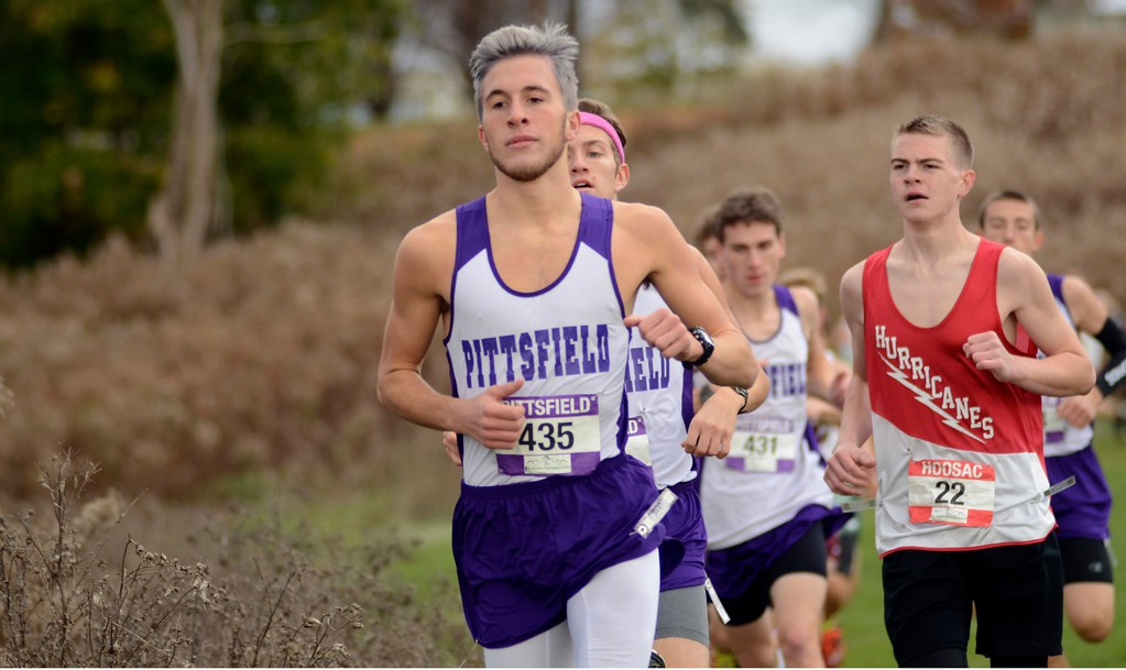 . Pittsfield runner Lucas Godwin races during the Berkshire County Championships on Saturday at Berkshire Community College. Godwin finished third overall and helped his Generals to finish second as a team.