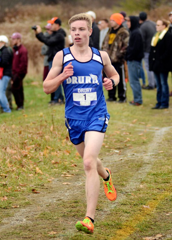 . Drury runner Connor Meehan races during Saturday\'s Berkshire County Championships at Berkshire Community College. Meehan won the boys varsity race, running the course in 16 minutes, 30.1 seconds to beat Mount Greylock\'s Jacob Fink.