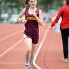 GEOFF SMITH - THE BERKSHIRE EAGLE<br /> Lenox's Maggie Sorrentino runs the mile during Wednesday's Berkshire County Invitational. Sorrentino finished first overall in the race.