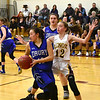GILLIAN JONES — THE BERKSHIRE EAGLE<br /> Drury's Alison Felix gets the rebound ball after Lenox's Sophie Patella attempt at a basket during a game in Lenox on Thursday, February 8, 2018.
