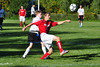 Steven Crouch maneuvers around Drury defense in attempt to move the ball closer to the goal. (Jack Guerino/ North Adams Transcript)