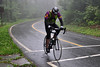 Despite the heavy fog, bikers scale Mount Greylock Saturday morning during the Greylock Hill Climb Time Trial. The 9.1 mile race was put on by The Northampton Cycling Club. (Jack Guerino/ North Adams Transcript)