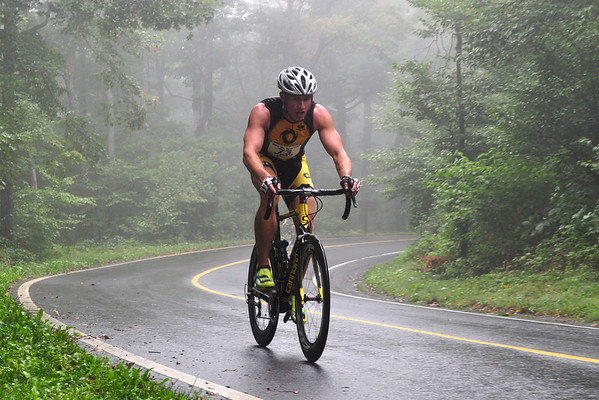 Matt Musiac, from Easthampton, cycles through the heavy fog on Mount Greylock Saturday morning during the Greylock Hill Climb Time Trial. The 9.1 mile race was put on by The Northampton Cycling Club. (Jack Guerino/ North Adams Transcript)