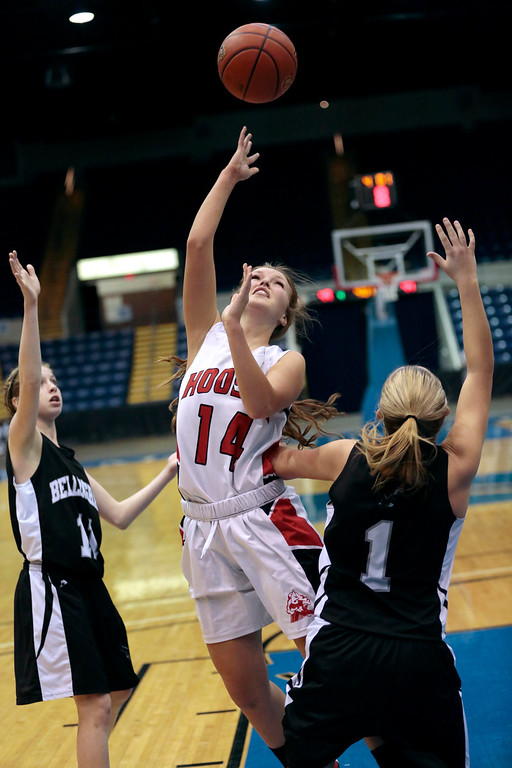 . Hoosac\'s Jennifer Gale takes a shot in the state semifinal basketball game that they won against Bellingham at the MassMutual Center in Springfield. Tuesday, March 11, 2014. Stephanie Zollshan / Berkshire Eagle Staff / photos.berkshireeeagle.com