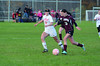Hoosac's Jen Gale and Easthampton's Katelyn Nardi battle for possession. (Gillian Jones/North Adams Transcript)