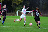 Hoosac's Megan Rodowicz controls the ball as she approaches Easthampton's Tiereny George. (Gillian Jones/North Adams Transcript)