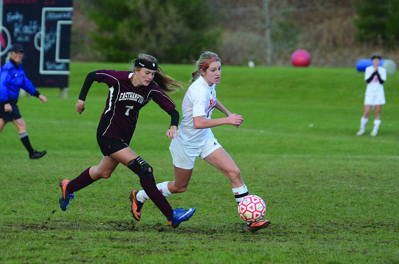 Easthampton's Brenna Mottor tries to catch up with Hoosac's Megan Rodowicz. (Gillian Jones/North Adams Transcript)