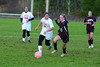 Hoosac's MacKenzie Robinson and Easthampton's Karina Volpe battle for possession. (Gillian Jones/North Adams Transcript)