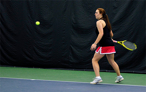 . Jen Evans lines up a forehand during practice Friday, March 28, at Berkshire West in Pittsfield. Josh Colligan / Berkshire Eagle Staff / photos.berkshireeagle.com