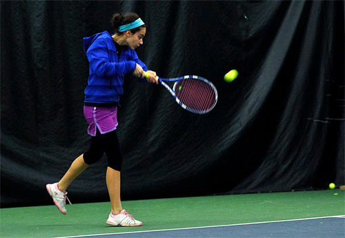 . Cara Freadman returns the ball with a backhand during practice Friday, March 28, at Berkshire West in Pittsfield. Josh Colligan / Berkshire Eagle Staff / photos.berkshireeagle.com