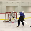 Mount Everett goalie Sam Riva gets ready to face a shot during practice at Berkshire School. (Matthew Sprague / Berkshire Eagle Staff)