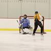 Mount Everett goalie Jonah Swotes stops a shot during practice at Berkshire School. (Matthew Sprague / Berkshire Eagle Staff)