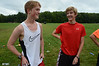 Mount Greylock Cross-Country runners Carter Stripp and Sam Kobrin talk during practice at the school on Tuesday August 27, 2013. (Gillian Jones/North Adams Transcript)