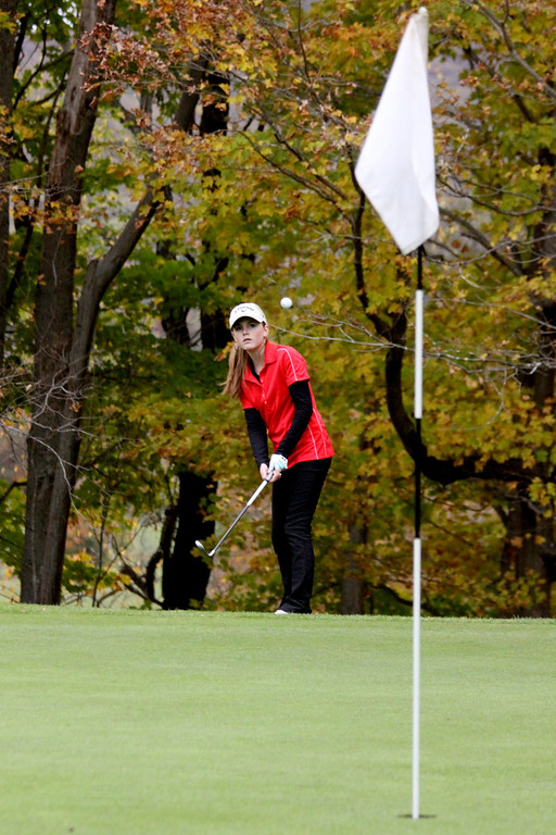 . Lilly Crolius, of Mount Greylock, plays at the Pontoosuc Lake Country Club on Thursday, Oct. 10, 2013.  (Holly Pelczynski/Berkshire Eagle)