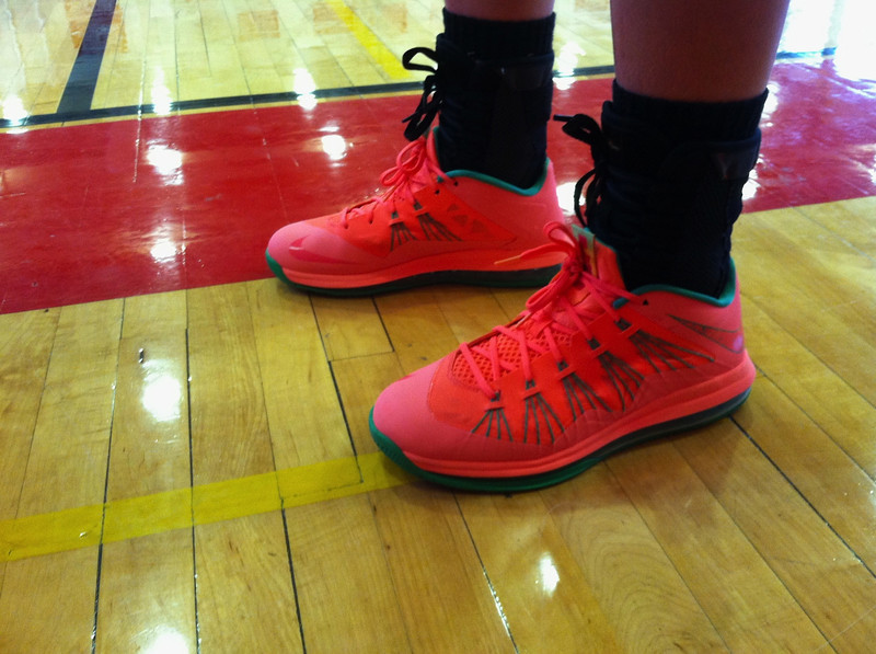 "Hoosac Valley girls basketball player Emily Rosse said her sneakers are ""peach and green."""