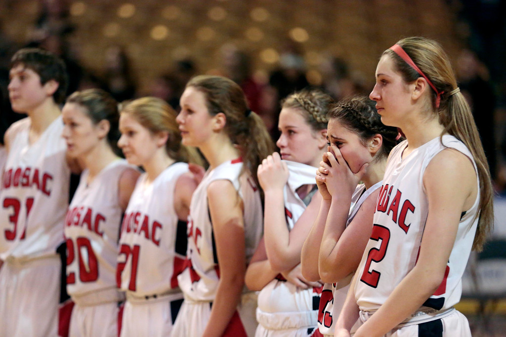 . The Hoosac girls basketball team waits for their second place medals after being defeated by St. Mary\'s in the state championship game in Worcester. Saturday, March 15, 2014. Stephanie Zollshan / Berkshire Eagle Staff / photos.berkshireeagle.com