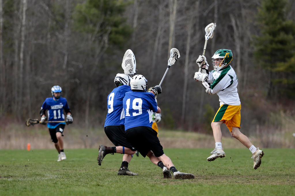 . Taconic\'s Brad Cobb takes a shot on goal during a lacrosse game against Wahconah at Taconic High School in Pittsfield. Wednesday, May 7, 2014. Stephanie Zollshan / Berkshire Eagle Staff / photos.berkshireeagle.com