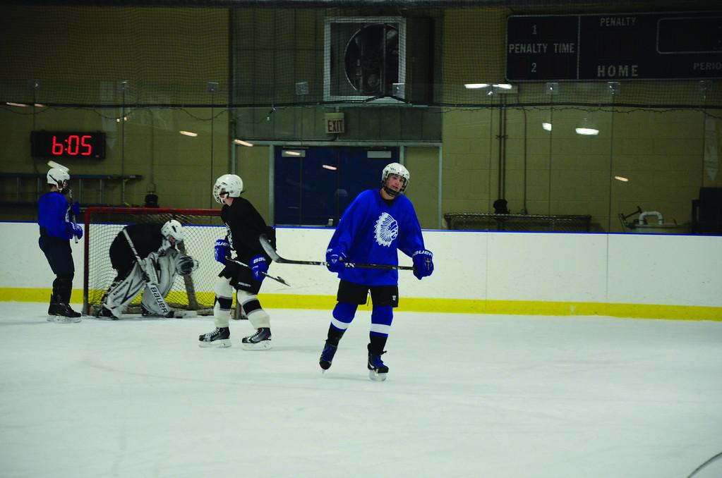 . The Wahconah hockey team practices at Peter W. Foote Vietnam Veterans Memorial Rink in North Adams on Friday, Dec. 6, 2013. (Gillian Jones/North Adams Transcript)