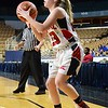 GEOFF SMITH - THE BERKSHIRE EAGLE<br /> Hoosac Valley sophomore Alie Mendel lines up a 3-point opportunity against Lunenburg in the MIAA Division III state semifinal. March 13, 2017.