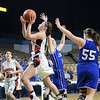 GEOFF SMITH - THE BERKSHIRE EAGLE<br /> Hoosac Valley senior Fallon Field goes up for a shot against Lunenburg in the MIAA Division III state semifinal at the DCU Center. March 13, 2017.