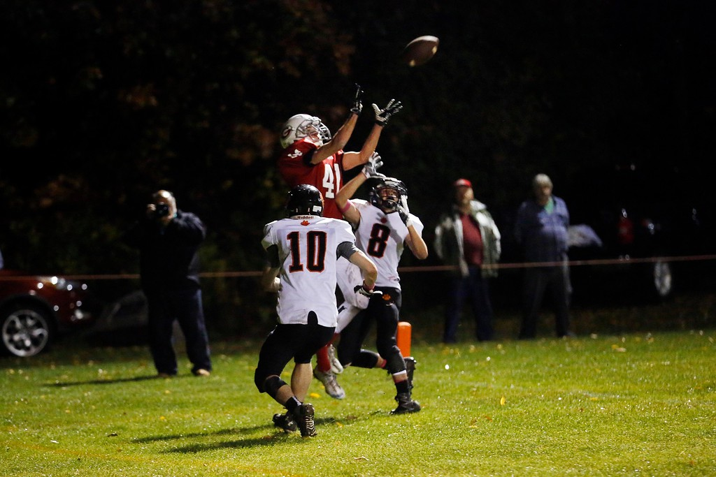 . Mount Greylock\'s Brandon Condon catches a touchdown pass in the endzone in a football game against Lee play at Mount Greylock High School in Williamstown. Friday, October 21, 2016. Stephanie Zollshan � The Berkshire Eagle | photos.berkshireeagle.com