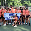 GEOFF SMITH — THE BERKSHIRE EAGLE<br /> The Lee girls tennis team poses with the championship trophy after beating South Hadley for the Western Massachusetts Division III championship. Lee won the match 4-1.