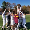 GEOFF SMITH — THE BERKSHIRE EAGLE<br /> The Lenox boys soccer team lifts up Isaac Tabakin while celebrating its Western Massachusetts Division IV championship win over Drury on Sunday.