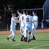 GEOFF SMITH — THE BERKSHIRE EAGLE<br /> Members of the Lenox boys soccer team celebrate after Ian Laurin, left, scored a goal during Sunday's Western Massachusetts Division IV championship game against Drury.