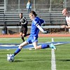 GEOFF SMITH — THE BERKSHIRE EAGLE<br /> Drury's Chad Lawrence goes to kick the ball during the Western Massachusetts Division IV championship game against Lenox on Sunday.