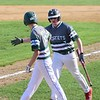 GILLIAN JONES - THE BERKSHIRE EAGLE<br /> McCann's Matt Jette and Dalton Tatro celebrate their two runs that brought them ahead during their game against Mount Everett at Joe Wolfe Field in North Adams on Tuesday, May 8, 2018.