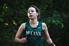 McCann Tech junior Zoe Loughman, exits the woods during Tuesday's cross country meet against Franklin tech. (Jack Guerino/ North Adams Transcript)