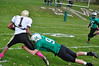 Nick Lincoln tackles Pioneer Valley offense. (Jack Guerino/North Adams Transcript)