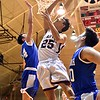 GEOFF SMITH — THE BERKSHIRE EAGLE Monument Mountain's Kevin Troiano scores a layup against Wahconah during the Western Massachusetts Division III semifinals at UMass. Troiano and his Spartans held on to beat the Warriors and advance to Saturday's championship game.