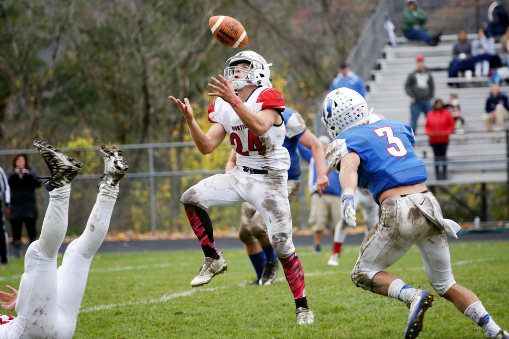 . Mount Greylock\'s Cal Messina catches a punt from Drury in a football game at Drury High School in North Adams. Saturday, October 29, 2016. Stephanie Zollshan � The Berkshire Eagle | photos.berkshireeagle.com