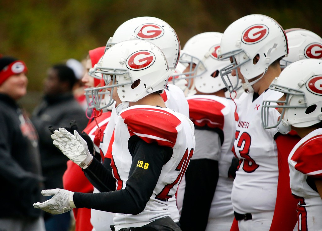 . Mount Greylock football players cheer for their teammates after they recover a fumble in a football game at Drury High School in North Adams. Saturday, October 29, 2016. Stephanie Zollshan � The Berkshire Eagle | photos.berkshireeagle.com