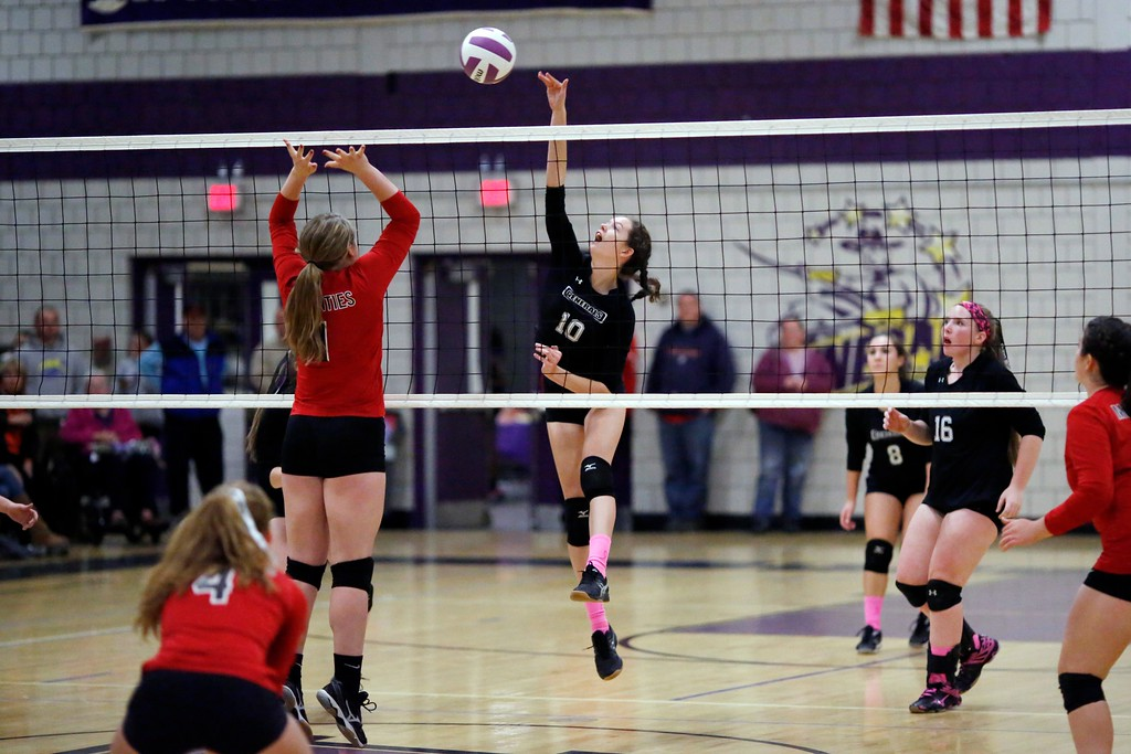 . Pittsfield\'s Anna Quinto spikes the ball in a volleyball match against Mount Greylock at Pittsfield High School. Wednesday, October 26, 2016. Stephanie Zollshan � The Berkshire Eagle   photos.berkshireeagle.com