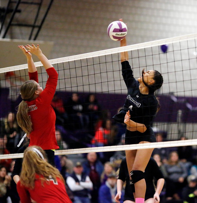 . Pittsfield\'s Kamea Quetti spikes the ball in a volleyball match against Mount Greylock at Pittsfield High School. Wednesday, October 26, 2016. Stephanie Zollshan � The Berkshire Eagle   photos.berkshireeagle.com