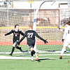 GEOFF SMITH — THE BERKSHIRE EAGLE<br /> Mount Greylock's Leo Rossiter, left, and Tate Kuster react after Rossiter scored the opening goal against Belchertown during Saturday's Western Massachusetts Division VIII final at Springfield Central.